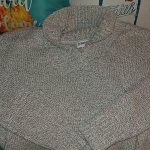 St. John's Bay Gray Cozy Cowl V-Neck Sweater